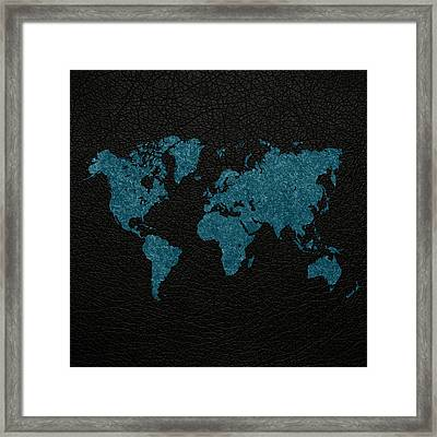 World Map Blue Vintage Fabric On Black Leather Framed Print by Design Turnpike