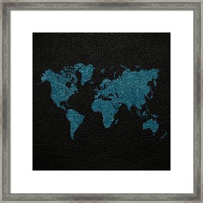 World Map Blue Vintage Fabric On Black Leather Framed Print