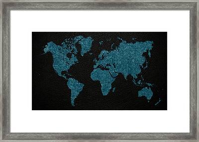 World Map Blue Vintage Fabric On Dark Leather Framed Print