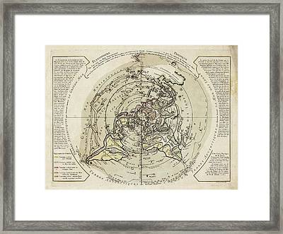 World Map Centred On North Pole Framed Print by Library Of Congress, Geography And Map Division