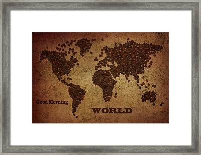World Map Coffee Beans With Good Morning Framed Print by Eti Reid