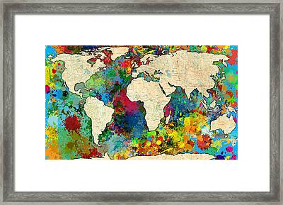 World Map Colorful Framed Print by Gary Grayson