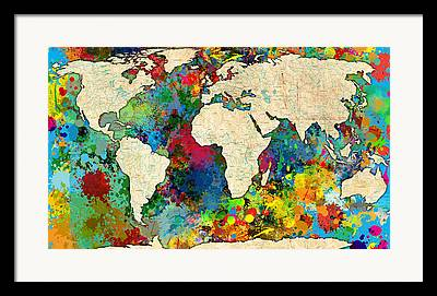 Abstract Map Paintings Framed Prints