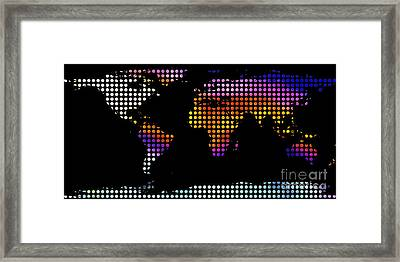 World Map Colourful Dots #2 Framed Print