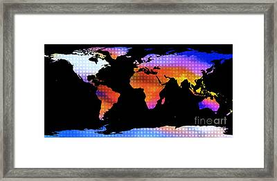 World Map Colourful Dots  Framed Print by Pixel Chimp