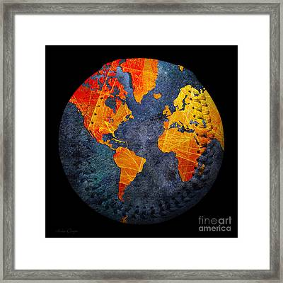World Map - Elegance Of The Sun Baseball Square Framed Print by Andee Design