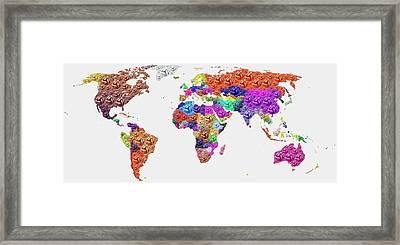 World Map - Soccer Football 2014 Framed Print