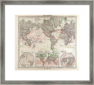 World Map Gotha Justus Perthes 1872 Atlas Framed Print