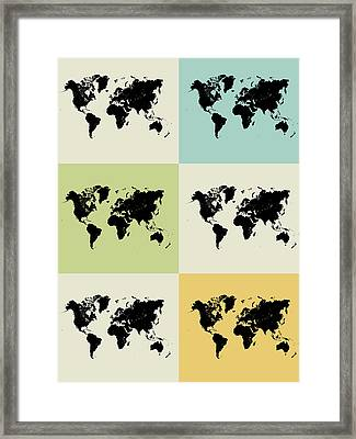 World Map Grid Poster Framed Print by Naxart Studio
