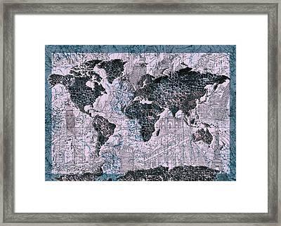 World Map Grunge 2 Framed Print
