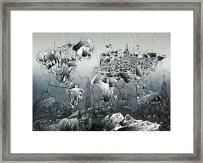 World Map Grunge Landmarks Framed Print by Bekim Art