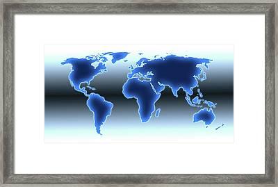 World Map Illustration Framed Print by Alfred Pasieka