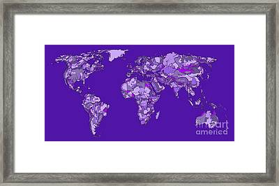 World Map In Bright Blue Framed Print by Adendorff Design