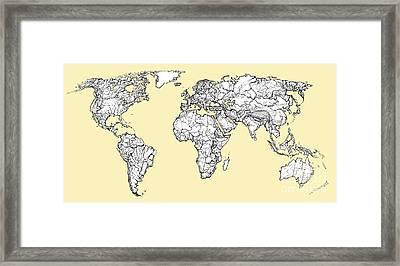 World Map In Cream Framed Print by Adendorff Design