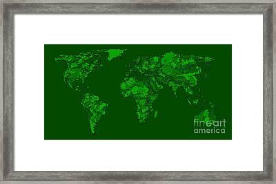 World Map In Dark-green Framed Print by Adendorff Design