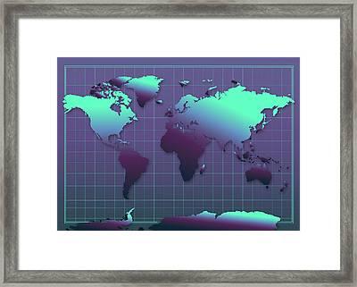 World Map In Dark Green Framed Print