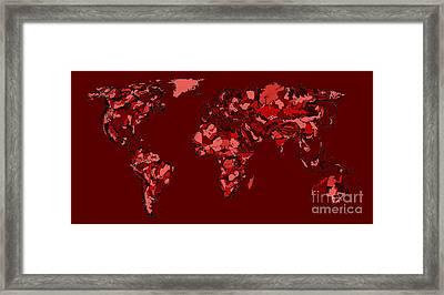 World Map In Dark Reds Framed Print by Adendorff Design