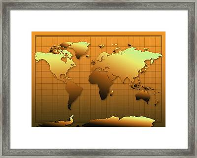 World Map In Gold Framed Print