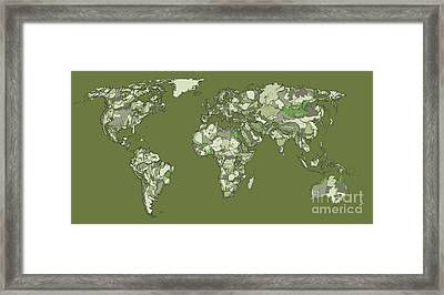 World Map In Grey-green Framed Print