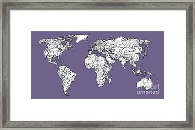 World Map In Lilac Grey Framed Print by Adendorff Design