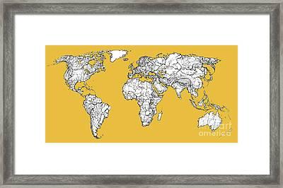 World Map In Mustard Framed Print by Adendorff Design