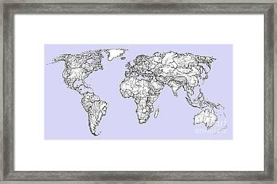 World Map In Pale Blue Framed Print by Adendorff Design