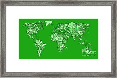 World Map In Pine Green Framed Print by Adendorff Design