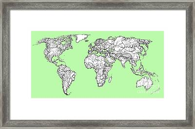 World Map In Pistachio Green Framed Print