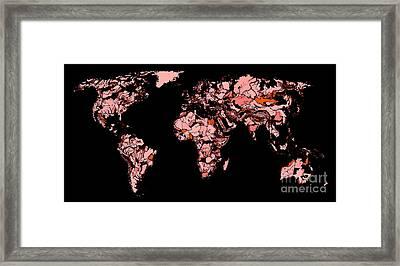 World Map In Red-black Framed Print by Adendorff Design