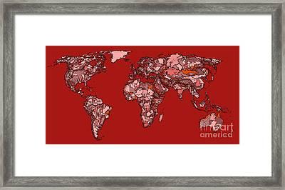 World Map In Reds Framed Print by Adendorff Design