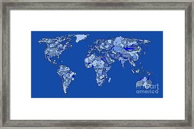 World Map In Sky Blue Framed Print by Adendorff Design
