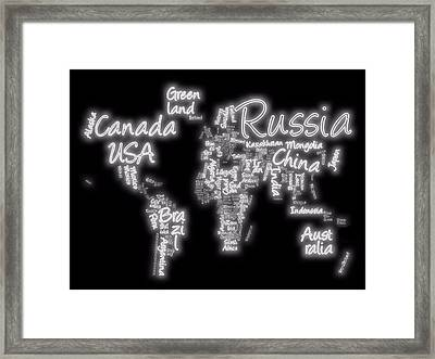 World Map In Text Neon Light Framed Print by Dan Sproul