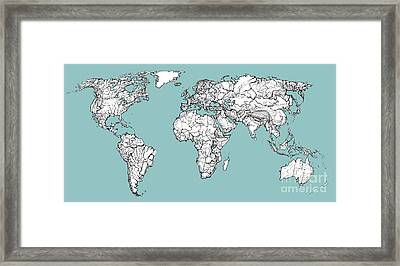 World Map In Turquoise Framed Print by Adendorff Design