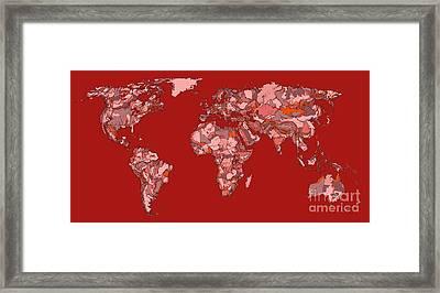 World Map In Vivid Red Framed Print