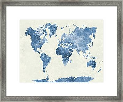 World Map In Watercolor Blue Framed Print by Pablo Romero