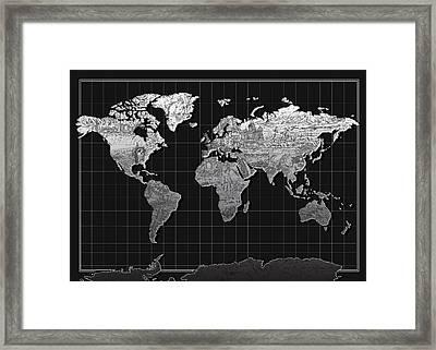 World Map Landmark Black Framed Print by Bekim Art