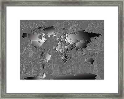 World Map Landmark Collage 6 Framed Print