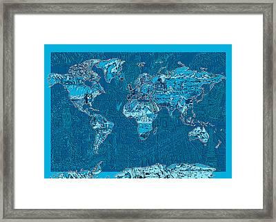 World Map Landmark Collage Blue Framed Print