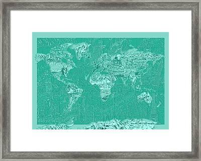 World Map Landmark Collage Green Framed Print