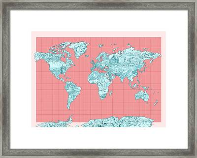 World Map Landmark Collage Framed Print by Bekim Art