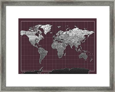 World Map Landmark Purple Framed Print by Bekim Art