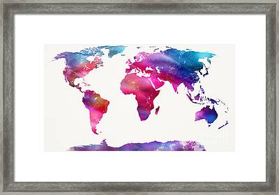 World Map Light  Framed Print by Mike Maher