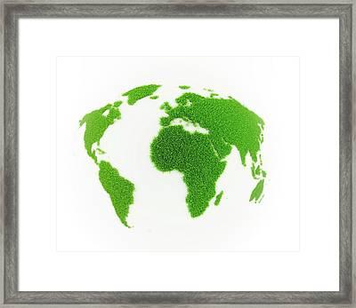 World Map Made Out Of Grass Framed Print by Andrzej Wojcicki