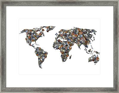 World Map Made Up Of Coins Framed Print