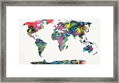 World Map Framed Print by Mike Maher