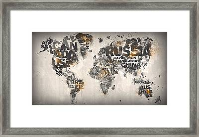 World Map Minimal Orange Framed Print by Mikael B Design