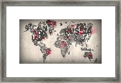 World Map Minimal Red Framed Print by Mikael B Design