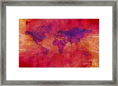 Framed Print featuring the digital art World Map  by Mohamed Elkhamisy
