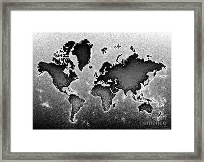 World Map Novo In Black And White Framed Print by Eleven Corners
