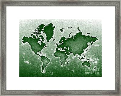 World Map Novo In Green Framed Print by Eleven Corners